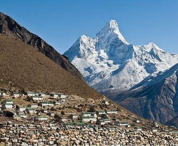 Khumjung village, Sagarmatha National Park, Nepal- Ama Dablam, a